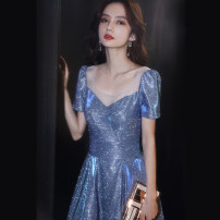 Dress / evening wear The company's annual convention performance date XS S M L XL XXL Blue bf-1287-1 036-5 bf-1092-3 bf-1401-5 Korean version longuette middle-waisted Winter 2020 Fall to the ground U-neck Bandage 18-25 years old YWR20141 Short sleeve Embroidery Solid color Yuwanru routine Other 100%