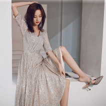 Dress / evening wear Weddings, adulthood parties, company annual meeting, performance date XS S M L XL XXL Champagne 6038-1 Korean version longuette middle-waisted Winter of 2019 Fall to the ground Deep collar V zipper 18-25 years old YWR19257 Short sleeve Nail bead Solid color Yuwanru other other