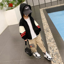 Plain coat Changing trend children male 110cm 120cm 130cm 140cm 150cm 160cm Black! Package in stock! Black! The second batch of pre-sale 4 days! spring and autumn leisure time Zipper shirt There are models in the real shooting routine No detachable cap other Cotton blended fabric other cwt20803