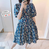 Women's large Summer 2021 Blue s Large L, large XL, s, m, 2XL, 3XL Dress singleton  commute easy moderate Socket Short sleeve Broken flowers Korean version V-neck Medium length polyester printing and dyeing puff sleeve 18-24 years old Button Short skirt Princess Dress other