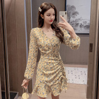 Dress Autumn 2020 Yellow blue purple short sleeve yellow short sleeve Blue Short Sleeve pink short sleeve S M L XL Short skirt singleton  Long sleeves commute V-neck High waist Broken flowers Socket A-line skirt routine 25-29 years old Type A Yixiang Butterfly printing YXD20205158002 More than 95%
