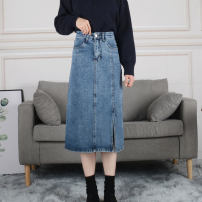 skirt Winter 2020 S M L XL Black blue Mid length dress commute High waist A-line skirt Solid color Type A 18-24 years old YXD20205068003 More than 95% Denim Yixiang Butterfly other pocket Korean version Other 100%