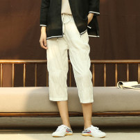 Casual pants white M. L, XL, in stock Spring of 2019 Cropped Trousers Haren pants Natural waist commute routine 81% (inclusive) - 90% (inclusive) 17C11325 Words and deeds cotton literature Bandage cotton
