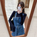 Dress Autumn 2020 S. M, l, XL, one size fits all longuette singleton  Sleeveless commute other High waist Solid color A-line skirt other straps 18-24 years old Type A Korean version pocket Denim cotton