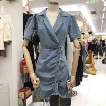 Dress Summer 2020 blue S,M,L Miniskirt singleton  Short sleeve commute tailored collar High waist Solid color Single breasted other puff sleeve Others 18-24 years old Type H Korean version fold 30% and below other other