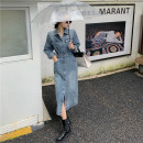 Dress Autumn 2020 Picture color S,M,L Mid length dress singleton  Long sleeves commute tailored collar High waist Solid color Single breasted One pace skirt Bat sleeve Others Type H Korean version 51% (inclusive) - 70% (inclusive) Denim other