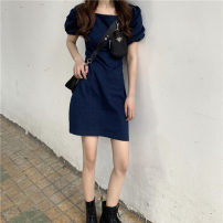 Dress Summer 2020 Graph color S,M,L Short skirt singleton  Short sleeve commute One word collar High waist Solid color Socket A-line skirt puff sleeve Others 18-24 years old Type H Retro Denim cotton