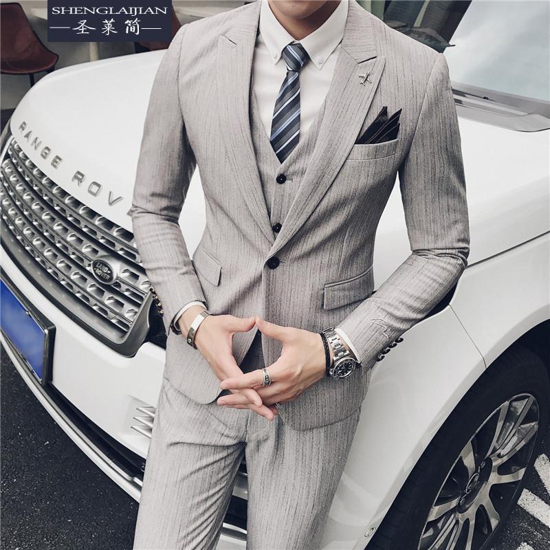 Suit Business gentleman St. regine Light grey M (48) three piece suit (suit, trousers, vest) free shirt routine SLJSJT53 Polyethylene terephthalate (PET) 78% viscose fiber (viscose fiber) 18% polyurethane elastic fiber (spandex) 4% Fall 2017 Pure e-commerce (online only)