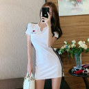 Dress Summer of 2019 Black and white S M L XL Short skirt singleton  Short sleeve commute V-neck High waist Solid color Socket One pace skirt routine Others 18-24 years old Type H Fidowei Korean version Embroidery W50905# More than 95% brocade polyester fiber Other polyester 95% 5%