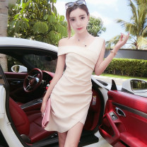 Dress Summer of 2019 Apricot black S M L Short skirt singleton  Sleeveless commute Slant collar High waist Solid color Socket One pace skirt routine Oblique shoulder 18-24 years old Type H Fidowei Korean version Fold asymmetry W31755# More than 95% brocade polyester fiber Other polyester 95% 5%