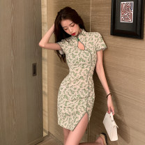 Dress Summer 2021 Picture color S M L Short skirt singleton  Short sleeve commute stand collar High waist Decor Socket One pace skirt routine Others 18-24 years old Type H Fidowei Korean version Hollow button printing YJR3155# More than 95% brocade polyester fiber Other polyester 95% 5%