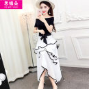 Dress Summer of 2018 White and black S M L longuette singleton  Short sleeve commute One word collar High waist Solid color Socket Big swing routine Others 18-24 years old Type A Simedo Korean version Open back pleated lace up stitching AGN15268 51% (inclusive) - 70% (inclusive) other nylon