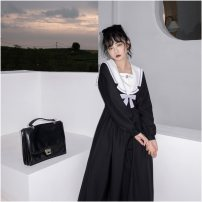 Dress Autumn 2020 black S regular 105cm, m extended 115cm longuette singleton  Long sleeves Sweet Admiral High waist Solid color Socket A-line skirt routine Type A Other Button polyester fiber solar system
