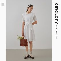 Dress Summer 2021 This is white 155/80A/S 160/84A/M 165/88A/L Mid length dress singleton  Short sleeve Sweet Crew neck High waist Solid color Socket Princess Dress routine Others 25-29 years old Type A circlofy Hollow tie C21B420157 More than 95% other cotton Cotton 100% Mori