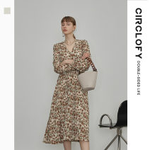 Dress Spring 2021 Milk apricot 155/80A/S 160/84A/M 165/88A/L Mid length dress singleton  Long sleeves commute V-neck Broken flowers A-line skirt routine Others 25-29 years old Type A circlofy lady C21A420049 More than 95% Chiffon polyester fiber Polyester 100%