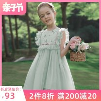 Dress Light bean green Princess White fairy powder female I.K Polyamide (nylon) 65% polyester 35% summer princess Short sleeve Broken flowers Lace A-line skirt QZ28147 other Summer 2020 12 months, 18 months, 2 years old, 3 years old, 4 years old, 5 years old, 6 years old, 7 years old and 8 years old
