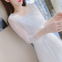 Dress Spring 2021 white S M L XL Mid length dress singleton  Long sleeves square neck High waist Others 25-29 years old Mo Xian Yi CY4144 More than 95% other Other 100% Exclusive payment of tmall