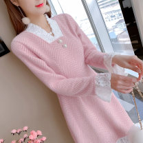 Dress Autumn 2020 Pink S M L XL longuette Fake two pieces Long sleeves V-neck Others 25-29 years old Mo Xian Yi CY3700 More than 95% other Other 100% Exclusive payment of tmall