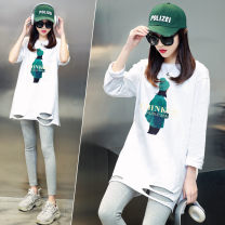 T-shirt Average size Spring 2021 Long sleeves Crew neck easy Regular routine street cotton 86% (inclusive) -95% (inclusive) 25-29 years old originality Letter character solid color 72 changes / 72 transformer Printing holes Cotton 95% polyurethane elastic fiber (spandex) 5% Sports & Leisure