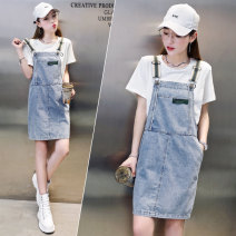 Dress Summer 2021 blue M L XL Mid length dress Two piece set Short sleeve commute Crew neck High waist Solid color Socket One pace skirt routine Others 25-29 years old Type H 72 changes / 72 transformer Korean version Pocket strap ZK1150 91% (inclusive) - 95% (inclusive) cotton