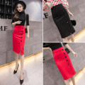 skirt Summer 2021 S,M,L,XL,2XL,3XL,4XL,5XL Black, red longuette Versatile High waist skirt Solid color Type H 18-24 years old 51% (inclusive) - 70% (inclusive) knitting Viscose Resin fixation, button, zipper 401g / m ^ 2 (inclusive) - 500g / m ^ 2 (inclusive)