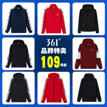 Sportswear / Pullover S/165 M/170 L/175 XL/180 XXL/185 XXXL/190 361° male Cardigan Hood Spring of 2018 Pattern letter polyester fiber Comprehensive training Warm and breathable Comprehensive training yes zipper zipper Same model in shopping mall (sold online and offline)