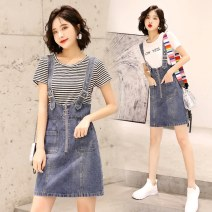 Dress Summer 2021 White stripe S M L XL Mid length dress Two piece set Short sleeve commute Crew neck High waist letter Socket Pencil skirt routine Others 35-39 years old Type A Elegant as tea Korean version Pocket stitching YYXIA981 31% (inclusive) - 50% (inclusive) Denim cotton