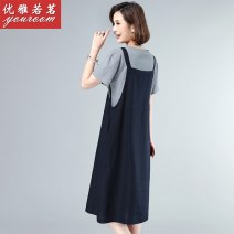 Dress Summer 2020 Khaki + Blue Navy + grey dark green + Beige M L XL 2XL 3XL Mid length dress Two piece set Short sleeve commute Crew neck High waist Solid color Socket A-line skirt routine Others 30-34 years old Type A Elegant as tea Korean version Strap button WAAY2180-1 other cotton