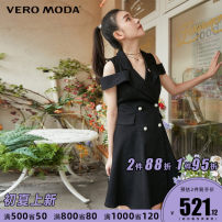 Dress Summer 2021 J1g black denim, J3E deep denim blue 155/76A/XS,160/80A/S,165/84A/M,170/88A/L,175/92A/XL Middle-skirt singleton  Sleeveless commute other middle-waisted Solid color double-breasted A-line skirt other Others 25-29 years old Type X Vero Moda Ol style Button Denim