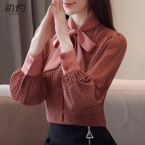 Lace / Chiffon Autumn of 2019 S,M,L,XL,2XL Long sleeves commute Cardigan singleton  Straight cylinder Super short Scarf Collar lattice bishop sleeve 25-29 years old Other / other Frenulum Korean version 81% (inclusive) - 90% (inclusive) polyester fiber