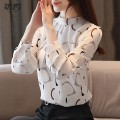 Lace / Chiffon Autumn of 2019 White, red, black S,M,L,XL,2XL Long sleeves commute Socket easy Super short stand collar Decor shirt sleeve Other / other printing