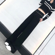 Casual pants black S (recommended 80-95 kg), m (recommended 95-110 kg), l (recommended 110-120 kg), XL (recommended 120-130 kg), 2XL (recommended 130-150 kg), 3XL (recommended 150-170 kg), 4XL (recommended 170-190 kg), 5XL (recommended 190-210 kg) Autumn 2020 trousers Wide leg pants High waist cotton