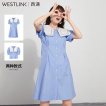 Dress Spring 2021 S M L XL Short skirt singleton  Short sleeve commute Admiral other zipper A-line skirt puff sleeve 25-29 years old Type A Westlink / Xiyu Simplicity Lotus leaf edge More than 95% cotton Cotton 100% Same model in shopping mall (sold online and offline)