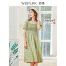 Dress Spring 2020 Green pink S M L XL Mid length dress singleton  Short sleeve Sweet other lattice other A-line skirt other Others 25-29 years old Type A Westlink / Xiyu 51% (inclusive) - 70% (inclusive) other cotton Cotton 60% polyester 40% Mori Same model in shopping mall (sold online and offline)