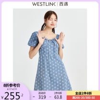 Dress Spring 2021 blue S M L XL Short skirt singleton  Short sleeve commute square neck other zipper A-line skirt puff sleeve 25-29 years old Type A Westlink / Xiyu lady zipper More than 95% cotton Cotton 100% Same model in shopping mall (sold online and offline)
