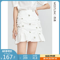 skirt Spring 2021 26 27 28 29 white Short skirt fresh High waist A-line skirt Broken flowers Type A 25-29 years old D0510305 More than 95% Westlink / Xiyu cotton Ruffle fold Cotton 100% Same model in shopping mall (sold online and offline)