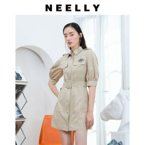 Dress Spring 2021 khaki S M L XL Mid length dress singleton  elbow sleeve middle-waisted Single breasted other 25-29 years old Type H Neely / Na Li Epaulet drape pocket lace up N072103AY150 31% (inclusive) - 50% (inclusive) polyester fiber Polyester 35.4% cotton 34.6% regenerated cellulose 30%