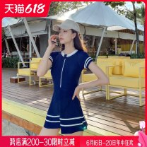 one piece  Spring of 2019 yes Wave resistance With chest pad without steel support female Short sleeve Casual swimsuit Skirt one piece swimsuit N20179 M L XL XXL blue