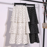 skirt Summer 2021 Average size White, black Mid length dress Versatile High waist Cake skirt Dot Type A 18-24 years old 91% (inclusive) - 95% (inclusive) Chiffon Chunmeiduo polyester fiber
