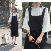 Dress Summer 2021 Black strap skirt + white T-shirt 3XL,S,4XL,M,L,XL,2XL longuette singleton  Sleeveless commute One word collar High waist Solid color Socket other other straps 18-24 years old Type H Korean version 81% (inclusive) - 90% (inclusive) brocade cotton