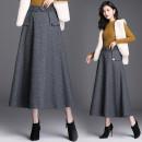 skirt Autumn 2020 S,M,L,XL,2XL,3XL Brown, dark grey longuette commute High waist A-line skirt lattice Type A 35-39 years old 81% (inclusive) - 90% (inclusive) Wool cotton Pockets, buttons, stitching Simplicity