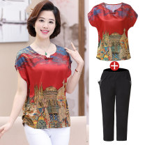 Middle aged and old women's wear Summer of 2018 ethnic style suit easy Two piece set Retro Design 40-49 years old Socket thin Feilianmu other Other 100% 96% and above Pure e-commerce (online only)