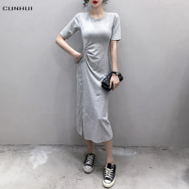 Dress Spring 2021 Flower grey brown black S M L XL 2XL longuette singleton  Short sleeve commute Crew neck High waist Solid color Socket One pace skirt routine Others 25-29 years old Cunhui Simplicity Splicing 2021Y90592 More than 95% cotton Cotton 97% polyurethane elastic fiber (spandex) 3%