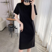 T-shirt S M L XL XXL Summer 2020 Short sleeve Crew neck Straight cylinder Medium length routine commute cotton 96% and above 25-29 years old Simplicity classic Solid color Cunhui Cotton 97% polyurethane elastic fiber (spandex) 3% Exclusive payment of tmall