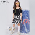 Children's performance clothes Black leaky shoulder ribbon T-shirt black and white plaid skirt set (black leaky shoulder ribbon T-shirt + black and white plaid skirt) female 110cm 120cm 130cm 140cm 150cm 160cm 170cm Hairuibao Class B other Other 100% other Summer of 2019 other