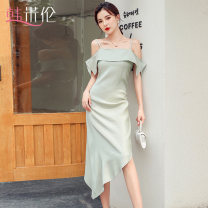Dress Summer 2020 S M L XL longuette singleton  Short sleeve commute One word collar High waist Solid color zipper One pace skirt Lotus leaf sleeve camisole 25-29 years old Han Milun zipper More than 95% other polyester fiber Polyester 100% Pure e-commerce (online only)