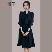 Women's large Autumn 2020 Khaki Navy S M L XL Dress singleton  commute Self cultivation moderate Long sleeves Solid color Korean version V-neck polyester fiber Collage routine Han Milun 25-29 years old Middle-skirt Polyester 100% Exclusive payment of tmall Pleated skirt zipper