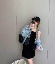 Dress Spring 2021 black Average size Middle-skirt singleton  Sleeveless commute Loose waist Solid color Socket other camisole Type H Korean version