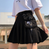 skirt Summer 2020 S M L XL average size Black stripe T-shirt Short skirt commute High waist Pleated skirt Solid color Type A 18-24 years old SURP42636 91% (inclusive) - 95% (inclusive) Feimu polyester fiber fold Retro Polyester 95% polyurethane elastic fiber (spandex) 5% Pure e-commerce (online only)