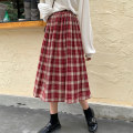 skirt Summer 2020 Average size Red and black Mid length dress commute High waist Pleated skirt lattice Type A 18-24 years old DNBY66315 More than 95% Chiffon Feimu polyester fiber Korean version Polyester 100% Pure e-commerce (online only)